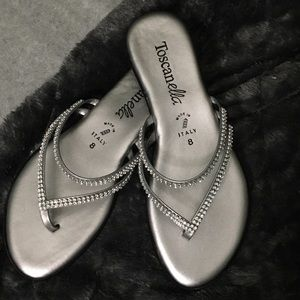 ✨NEW!!✨ silver bejeweled sandals!!!